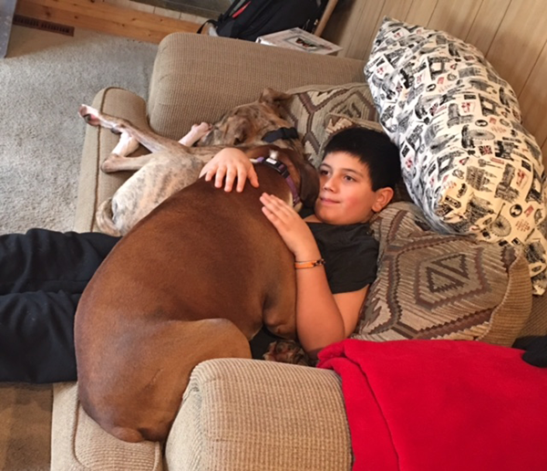 Jamie's son Issac with the boxers